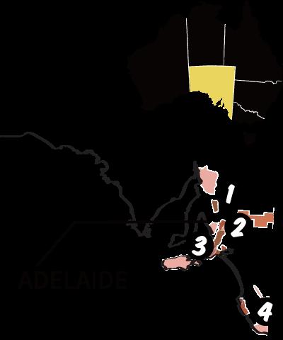 南オーストラリア州の地図