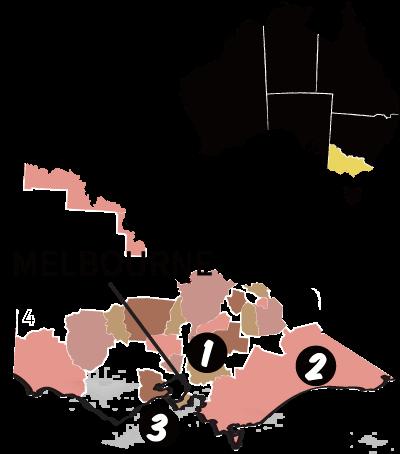 ヴィクトリア州の地図