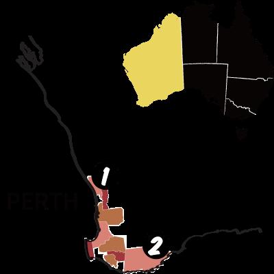 西オーストラリア州の地図