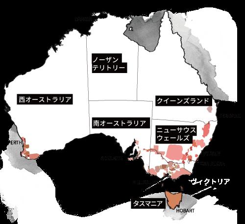 オーストラリアのワイン産地地図