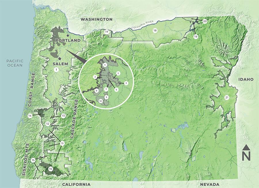 オレゴン州のAVA地図