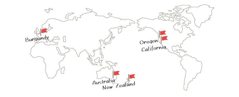 世界の優良ピノノワール地域マップ